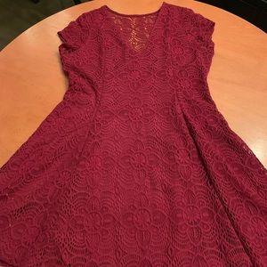 Deep red lace mini dress